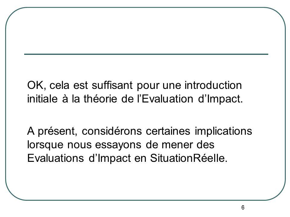Introduction à L Evaluation dImpact (citant le Guide du NONIE) La meilleure façon déviter les effets de la sélection est la sélection au hasard des gr
