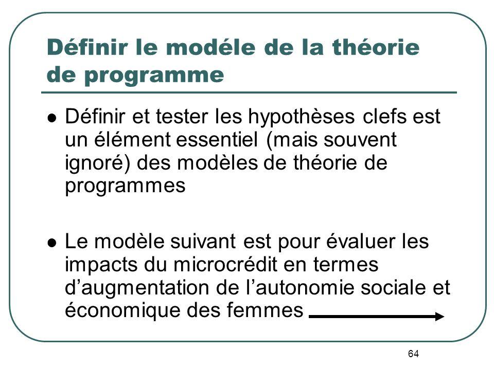 63 Définir le modéle de la théorie de programme Tous les programmes sont fondés sur un ensemble dhypothèses quant aux façons dont les interventions du