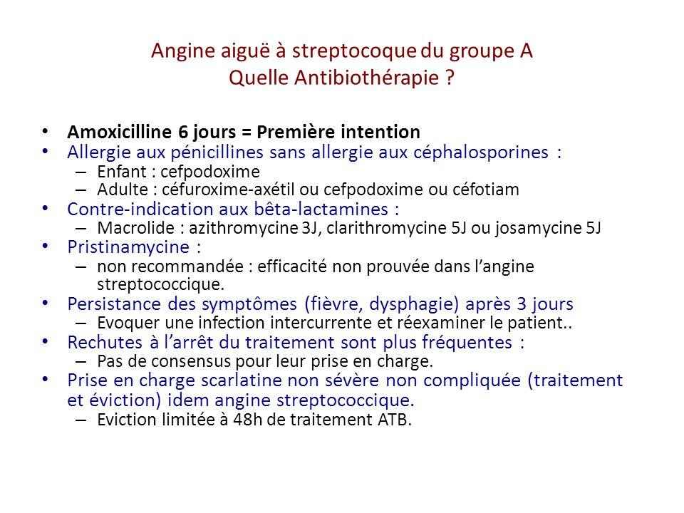 Angine aiguë à streptocoque du groupe A Quelle Antibiothérapie .