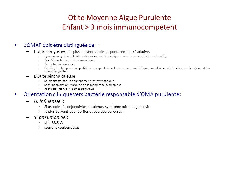 Otite Moyenne Aigue Purulente Enfant > 3 mois immunocompétent LOMAP doit être distinguée de : – Lotite congestive: Le plus souvent virale et spontanément résolutive.