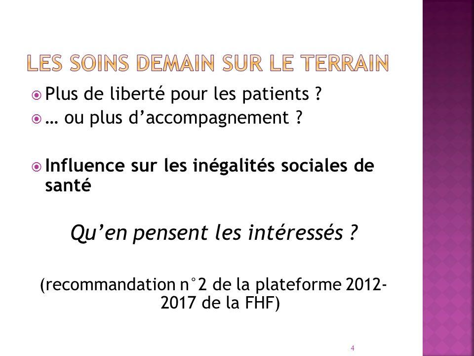 Plus de liberté pour les patients ? … ou plus daccompagnement ? Influence sur les inégalités sociales de santé Quen pensent les intéressés ? (recomman
