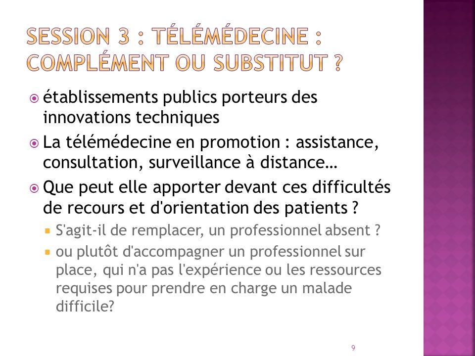 établissements publics porteurs des innovations techniques La télémédecine en promotion : assistance, consultation, surveillance à distance… Que peut