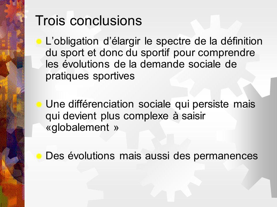 Trois conclusions Lobligation délargir le spectre de la définition du sport et donc du sportif pour comprendre les évolutions de la demande sociale de