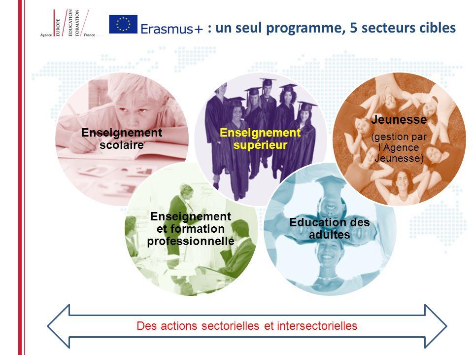 Enseignement scolaire Enseignement et formation professionnelle Enseignement supérieur Education des adultes Jeunesse (gestion par lAgence Jeunesse) : un seul programme, 5 secteurs cibles Des actions sectorielles et intersectorielles
