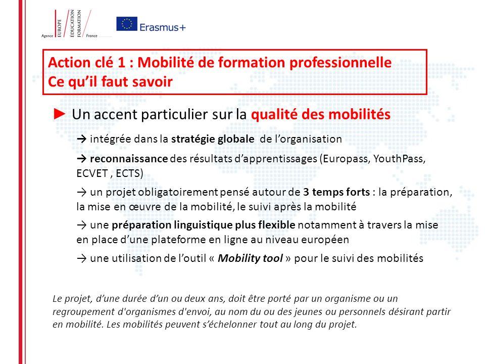 Action clé 1 : Mobilité de formation professionnelle Ce quil faut savoir Un accent particulier sur la qualité des mobilités intégrée dans la stratégie globale de lorganisation reconnaissance des résultats dapprentissages (Europass, YouthPass, ECVET, ECTS) un projet obligatoirement pensé autour de 3 temps forts : la préparation, la mise en œuvre de la mobilité, le suivi après la mobilité une préparation linguistique plus flexible notamment à travers la mise en place dune plateforme en ligne au niveau européen une utilisation de loutil « Mobility tool » pour le suivi des mobilités Le projet, dune durée dun ou deux ans, doit être porté par un organisme ou un regroupement d organismes d envoi, au nom du ou des jeunes ou personnels désirant partir en mobilité.