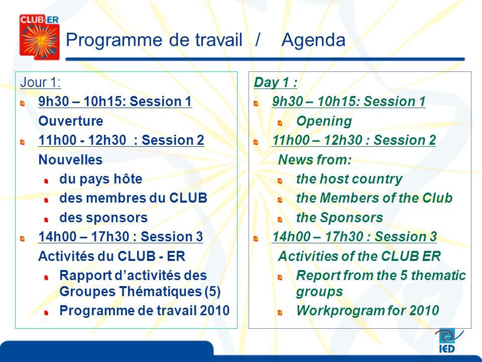 Programme de travail / Agenda Jour 1: 9h30 – 10h15: Session 1 Ouverture 11h00 - 12h30 : Session 2 Nouvelles du pays hôte des membres du CLUB des sponsors 14h00 – 17h30 : Session 3 Activités du CLUB - ER Rapport dactivités des Groupes Thématiques (5) Programme de travail 2010 Day 1 : 9h30 – 10h15: Session 1 Opening 11h00 – 12h30 : Session 2 News from: the host country the Members of the Club the Sponsors 14h00 – 17h30 : Session 3 Activities of the CLUB ER Report from the 5 thematic groups Workprogram for 2010