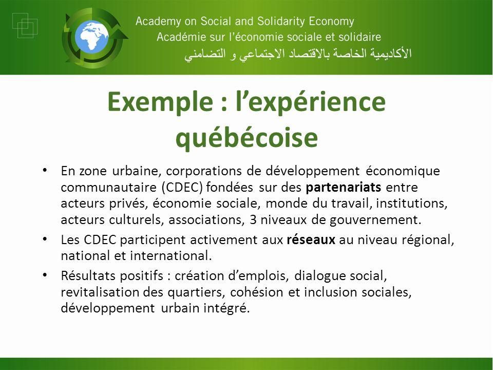 Exemple : lexpérience québécoise En zone urbaine, corporations de développement économique communautaire (CDEC) fondées sur des partenariats entre act