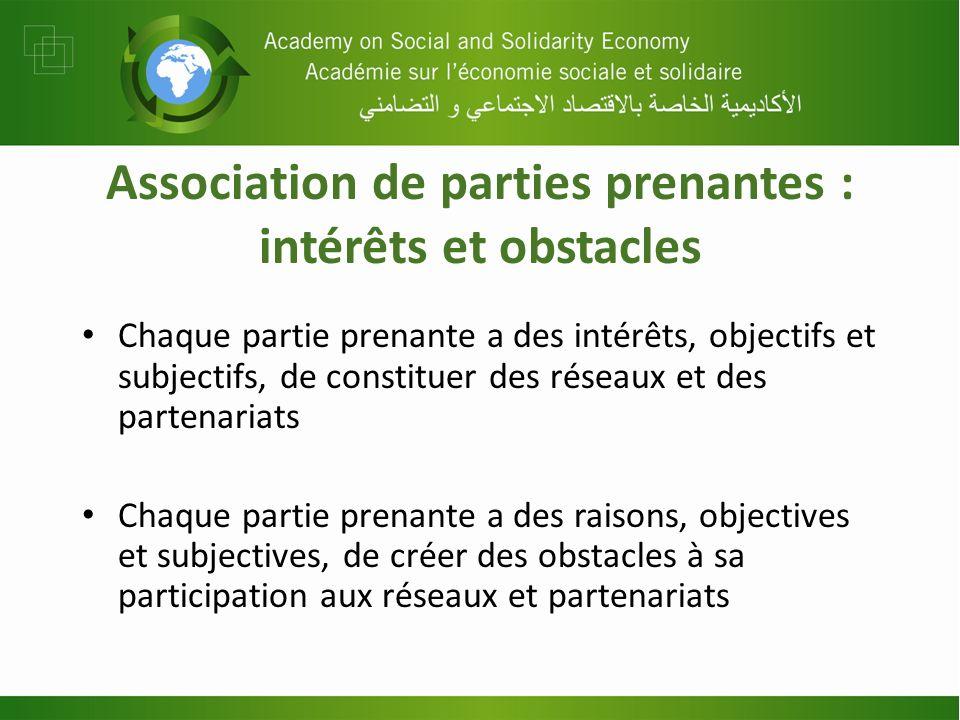 Association de parties prenantes : intérêts et obstacles Chaque partie prenante a des intérêts, objectifs et subjectifs, de constituer des réseaux et