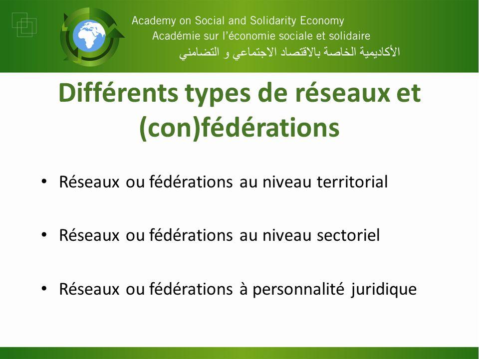 Différents types de réseaux et (con)fédérations Réseaux ou fédérations au niveau territorial Réseaux ou fédérations au niveau sectoriel Réseaux ou féd