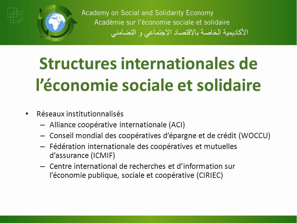 Structures internationales de léconomie sociale et solidaire Réseaux institutionnalisés – Alliance coopérative internationale (ACI) – Conseil mondial