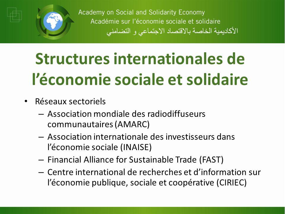 Structures internationales de léconomie sociale et solidaire Réseaux sectoriels – Association mondiale des radiodiffuseurs communautaires (AMARC) – As