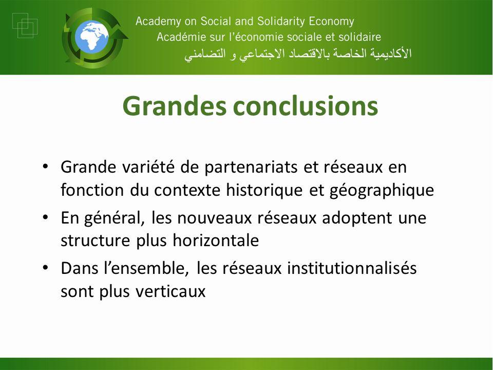 Grandes conclusions Grande variété de partenariats et réseaux en fonction du contexte historique et géographique En général, les nouveaux réseaux adop