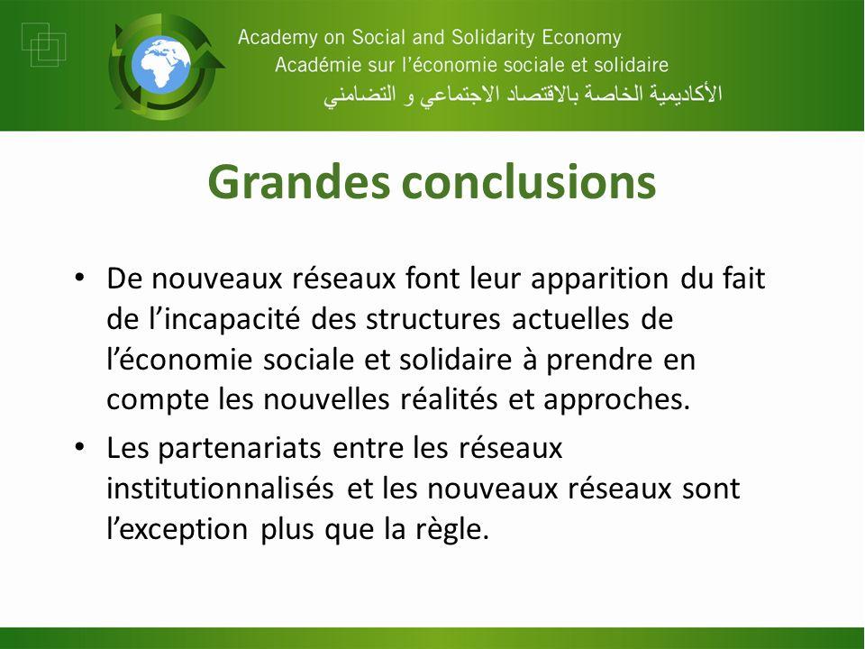 Grandes conclusions De nouveaux réseaux font leur apparition du fait de lincapacité des structures actuelles de léconomie sociale et solidaire à prend