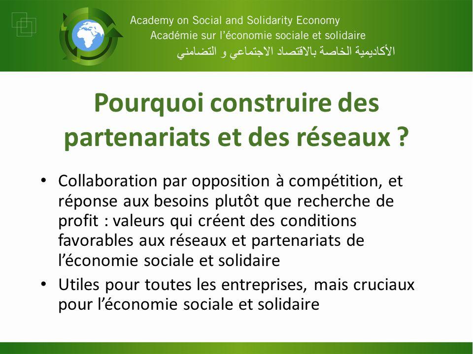 Pourquoi construire des partenariats et des réseaux ? Collaboration par opposition à compétition, et réponse aux besoins plutôt que recherche de profi