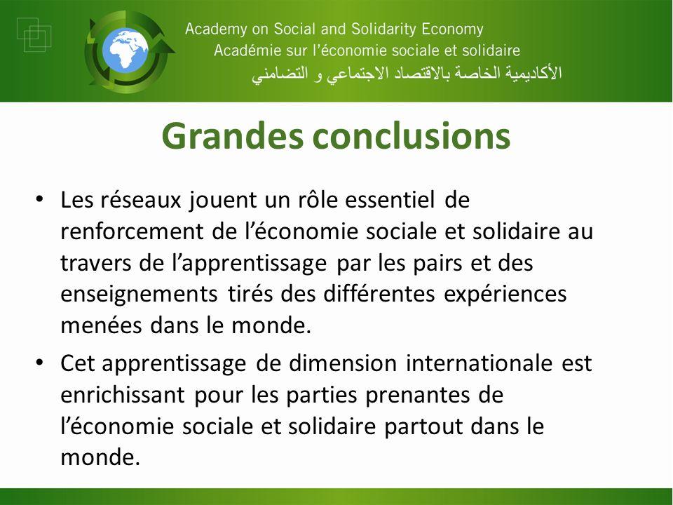 Grandes conclusions Les réseaux jouent un rôle essentiel de renforcement de léconomie sociale et solidaire au travers de lapprentissage par les pairs