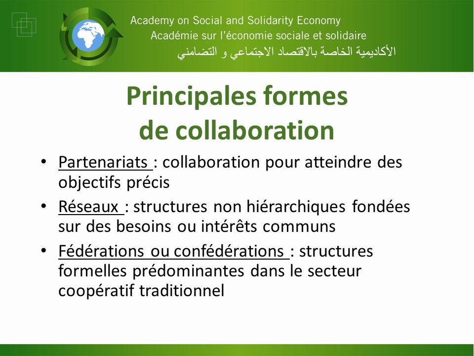 Principales formes de collaboration Partenariats : collaboration pour atteindre des objectifs précis Réseaux : structures non hiérarchiques fondées su