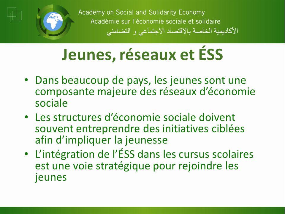 Jeunes, réseaux et ÉSS Dans beaucoup de pays, les jeunes sont une composante majeure des réseaux déconomie sociale Les structures déconomie sociale do