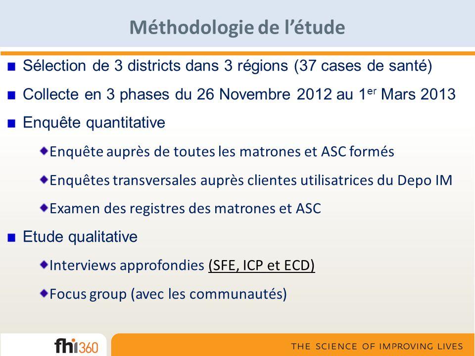 Méthodologie de létude Sélection de 3 districts dans 3 régions (37 cases de santé) Collecte en 3 phases du 26 Novembre 2012 au 1 er Mars 2013 Enquête