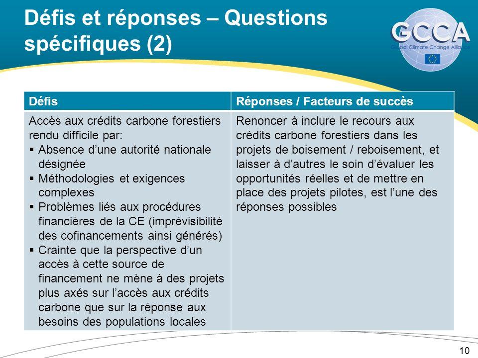 Défis et réponses – Questions spécifiques (2) DéfisRéponses / Facteurs de succès Accès aux crédits carbone forestiers rendu difficile par: Absence dun