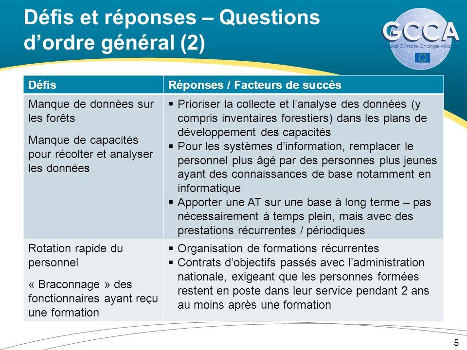 Défis et réponses – Questions dordre général (2) DéfisRéponses / Facteurs de succès Manque de données sur les forêts Manque de capacités pour récolter