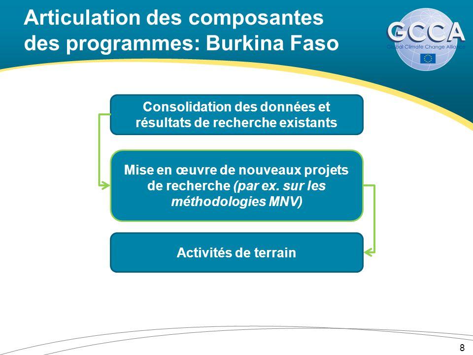 Articulation des composantes des programmes: Burkina Faso 8 Consolidation des données et résultats de recherche existants Mise en œuvre de nouveaux pr