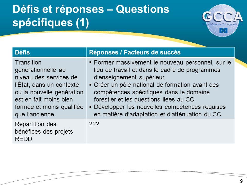 Défis et réponses – Questions spécifiques (1) DéfisRéponses / Facteurs de succès Transition générationnelle au niveau des services de lÉtat, dans un c