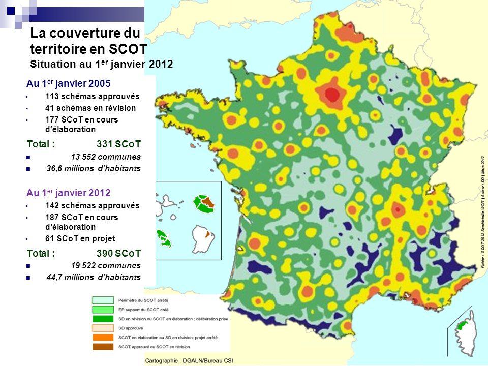 La couverture du territoire en SCOT Situation au 1 er janvier 2012 Au 1 er janvier 2005 113 schémas approuvés 41 schémas en révision 177 SCoT en cours