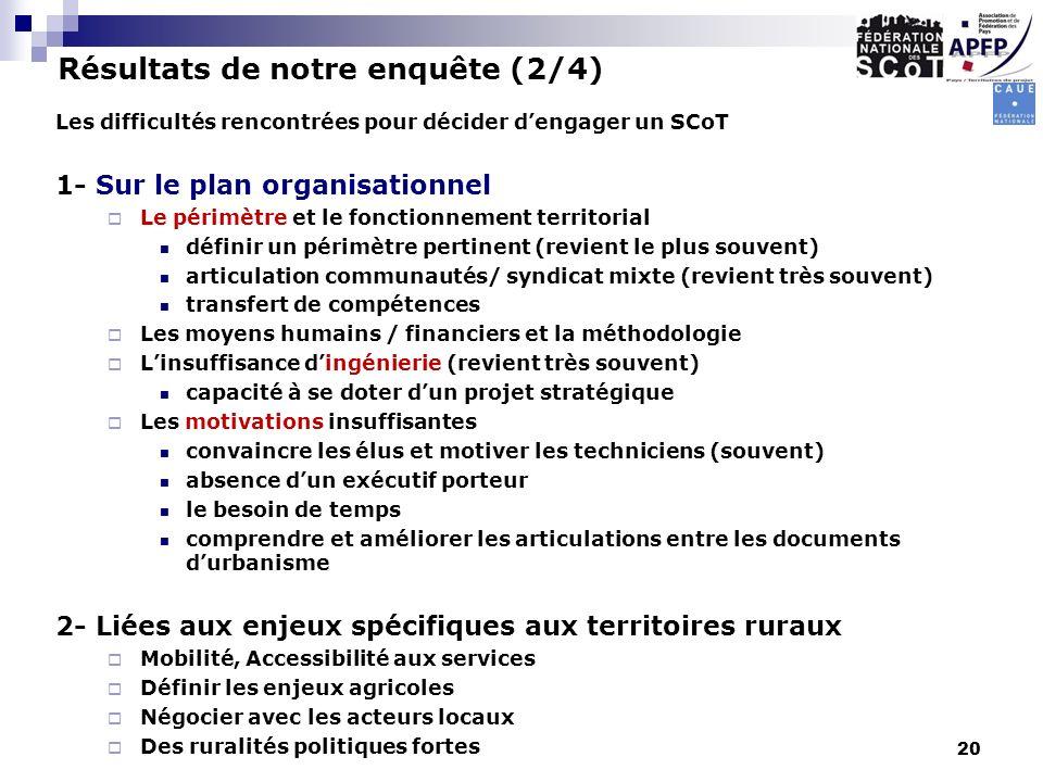 Les difficultés rencontrées pour décider dengager un SCoT 1- Sur le plan organisationnel Le périmètre et le fonctionnement territorial définir un péri