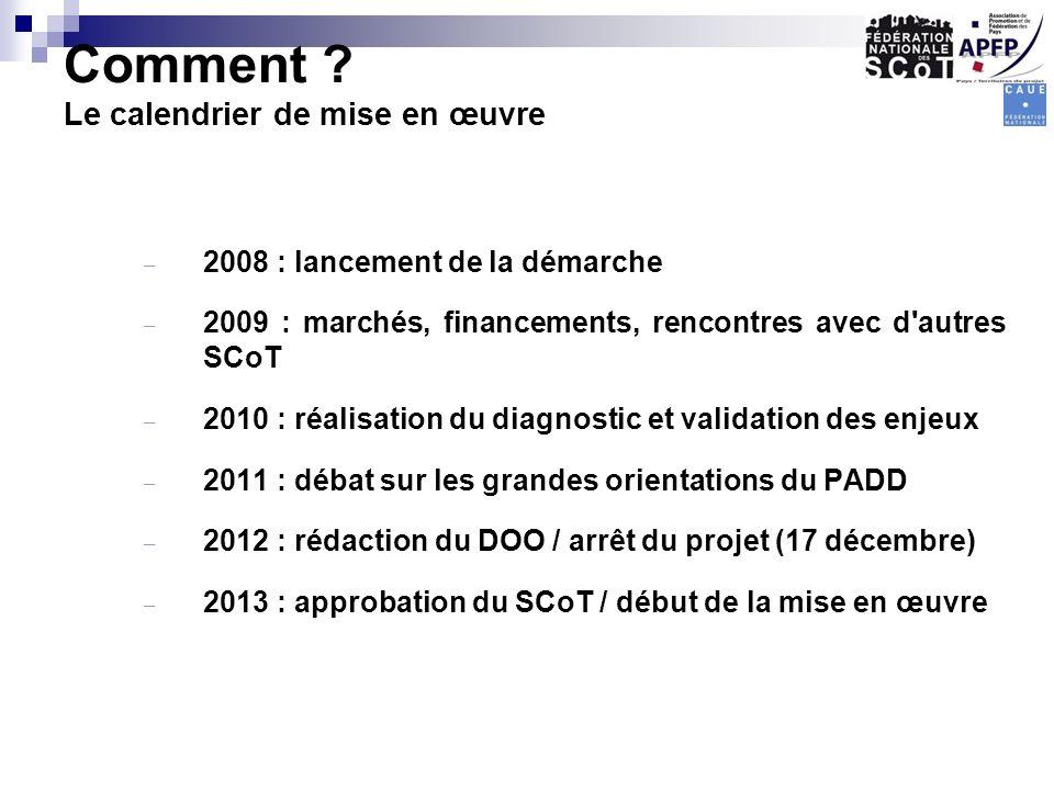 – 2008 : lancement de la démarche – 2009 : marchés, financements, rencontres avec d'autres SCoT – 2010 : réalisation du diagnostic et validation des e