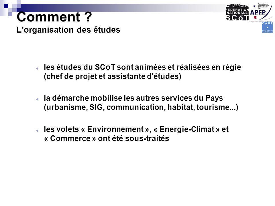 Comment ? L'organisation des études les études du SCoT sont animées et réalisées en régie (chef de projet et assistante d'études) la démarche mobilise