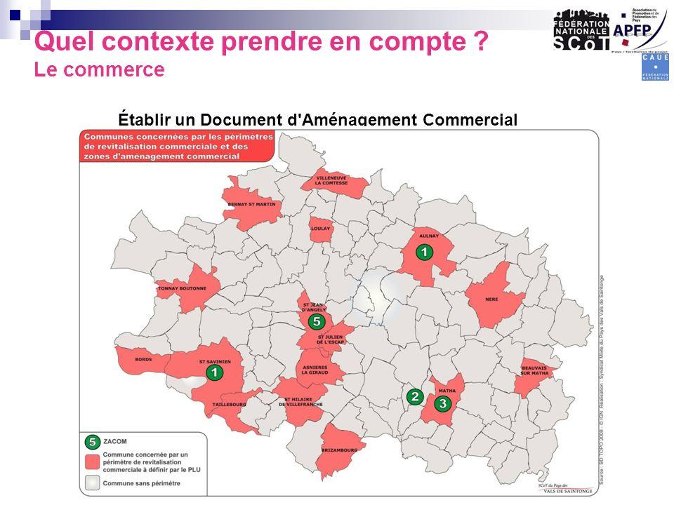 Quel contexte prendre en compte ? Le commerce Établir un Document d'Aménagement Commercial