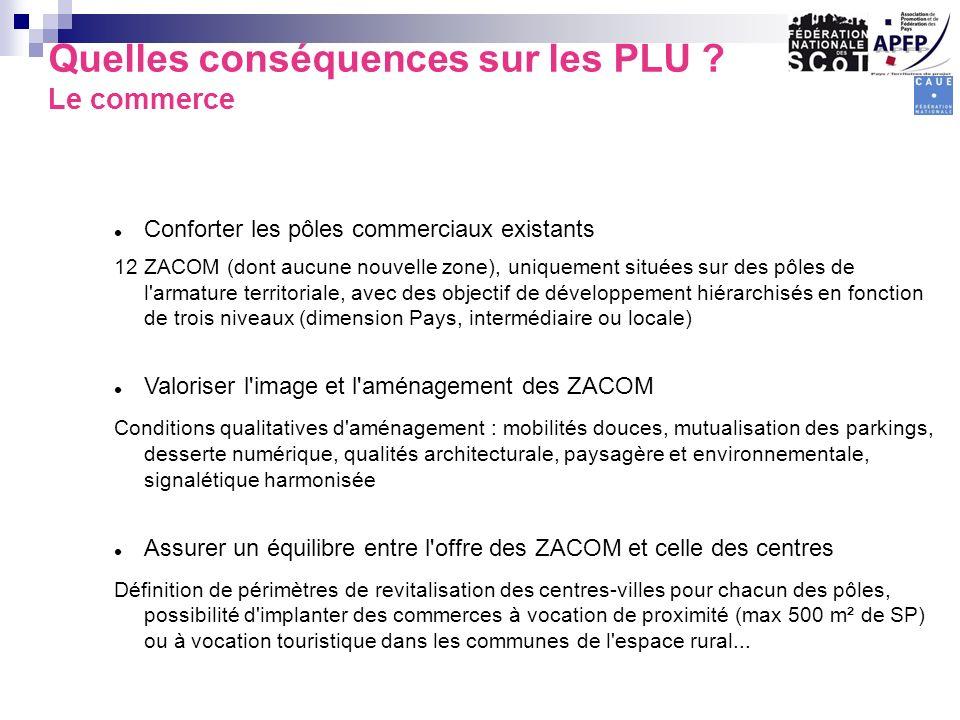Conforter les pôles commerciaux existants 12 ZACOM (dont aucune nouvelle zone), uniquement situées sur des pôles de l'armature territoriale, avec des