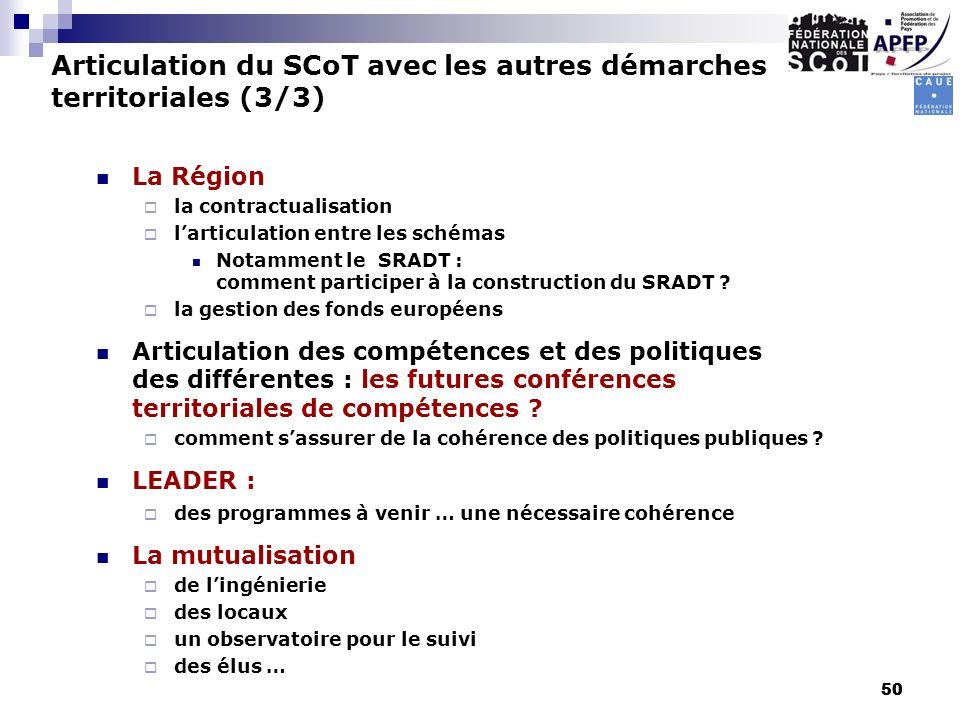 50 La Région la contractualisation larticulation entre les schémas Notamment le SRADT : comment participer à la construction du SRADT ? la gestion des