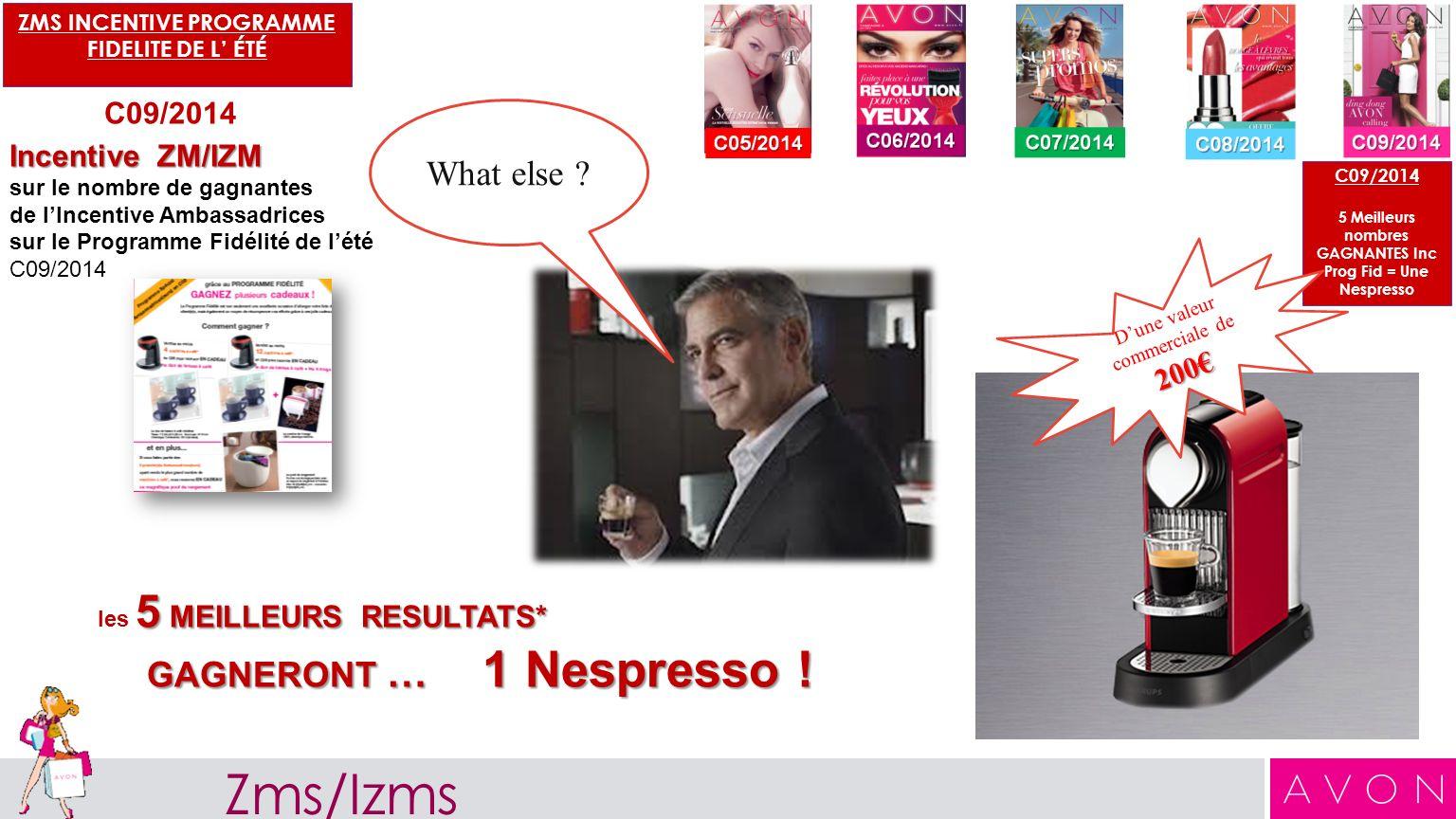 C09/2014 5 Meilleurs nombres GAGNANTES Inc Prog Fid = Une Nespresso ZMS INCENTIVE PROGRAMME FIDELITE DE L ÉTÉ C09/2014 Incentive ZM/IZM sur le nombre de gagnantes de lIncentive Ambassadrices sur le Programme Fidélité de lété C09/2014 5 MEILLEURS RESULTATS* les 5 MEILLEURS RESULTATS* GAGNERONT … 1 Nespresso .