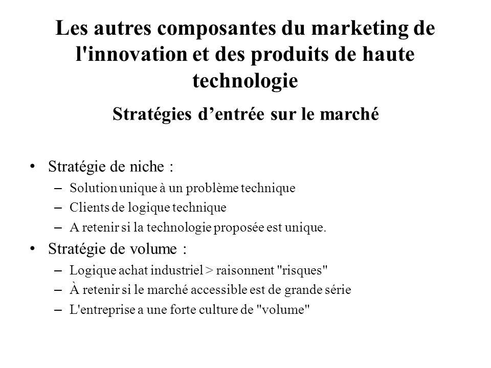 Les autres composantes du marketing de l'innovation et des produits de haute technologie Stratégies dentrée sur le marché Stratégie de niche : – Solut