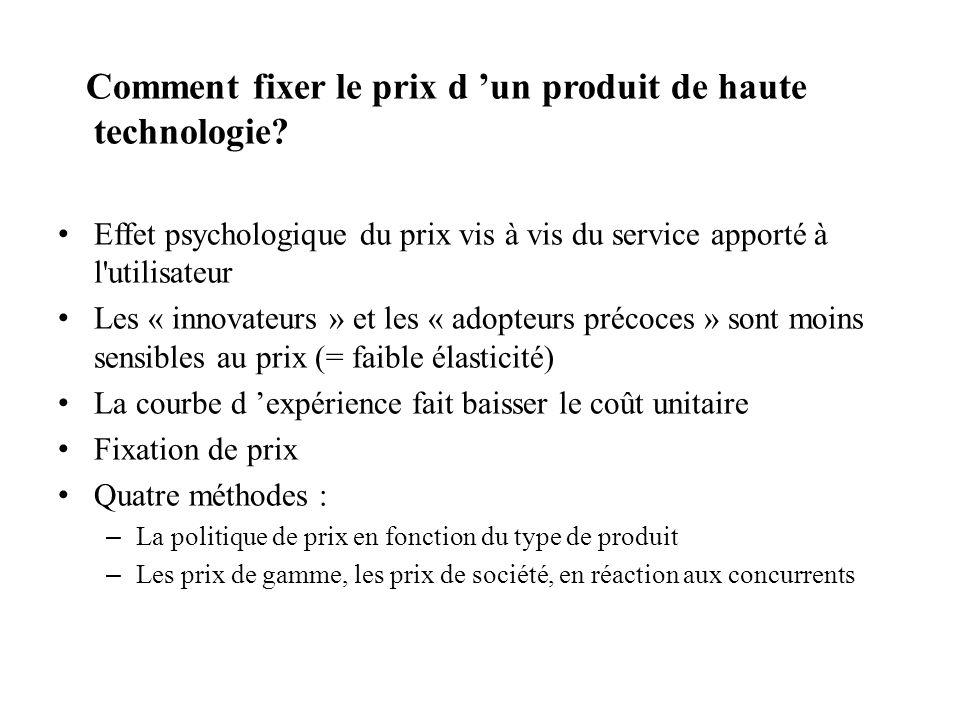 Comment fixer le prix d un produit de haute technologie? Effet psychologique du prix vis à vis du service apporté à l'utilisateur Les « innovateurs »