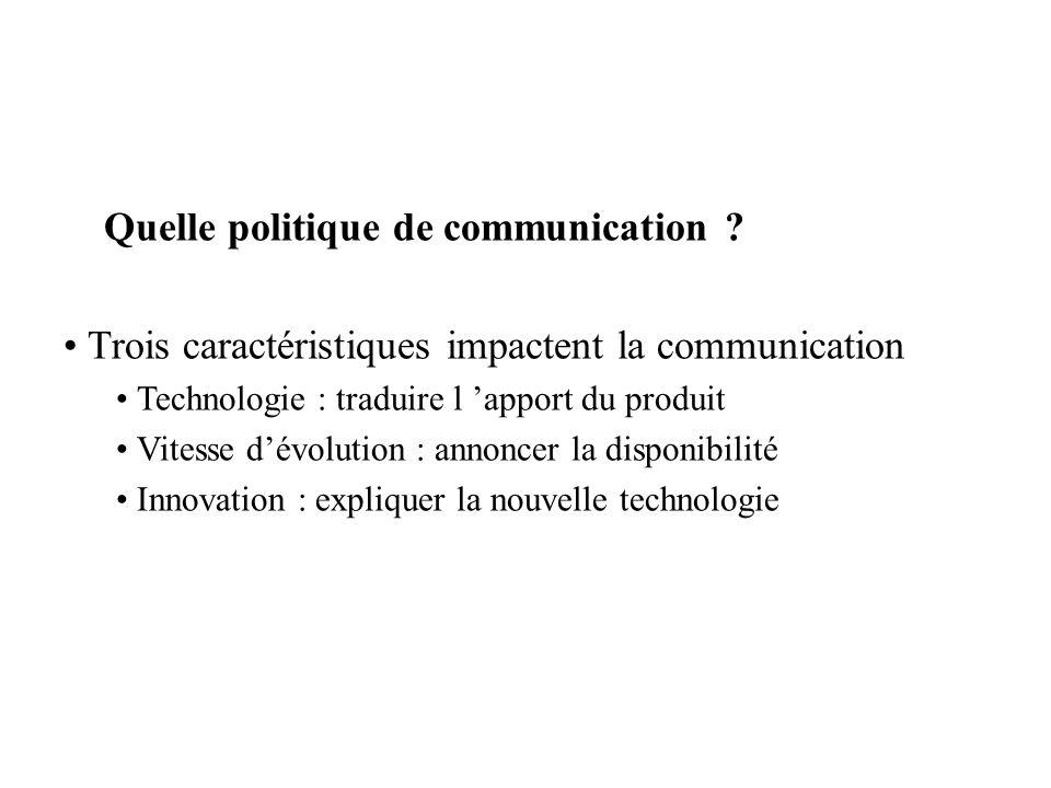 Quelle politique de communication ? Trois caractéristiques impactent la communication Technologie : traduire l apport du produit Vitesse dévolution :