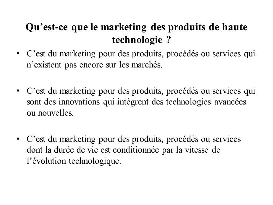 Les autres composantes du marketing de l innovation et des produits de haute technologie Stratégies dentrée sur le marché Stratégie de niche : – Solution unique à un problème technique – Clients de logique technique – A retenir si la technologie proposée est unique.