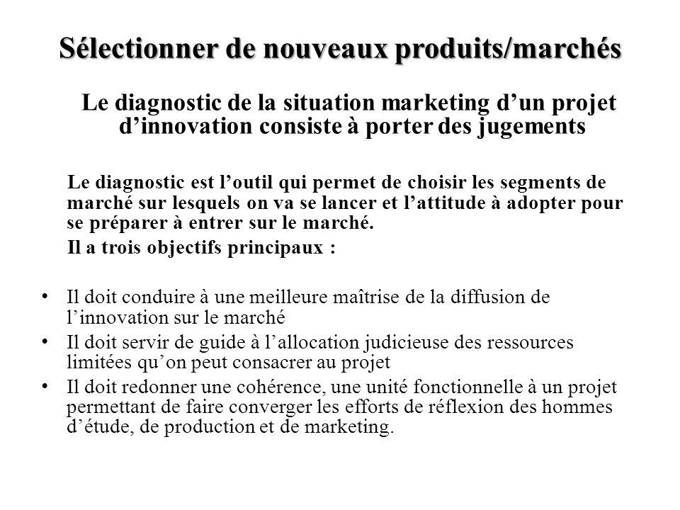 Sélectionner de nouveaux produits/marchés Le diagnostic de la situation marketing dun projet dinnovation consiste à porter des jugements Le diagnostic