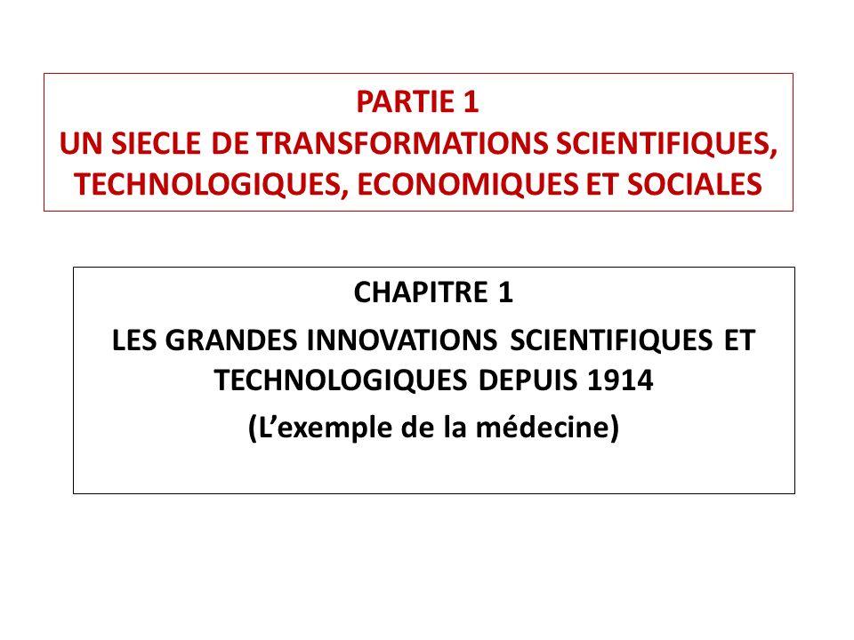 PARTIE 1 UN SIECLE DE TRANSFORMATIONS SCIENTIFIQUES, TECHNOLOGIQUES, ECONOMIQUES ET SOCIALES CHAPITRE 1 LES GRANDES INNOVATIONS SCIENTIFIQUES ET TECHNOLOGIQUES DEPUIS 1914 (Lexemple de la médecine)