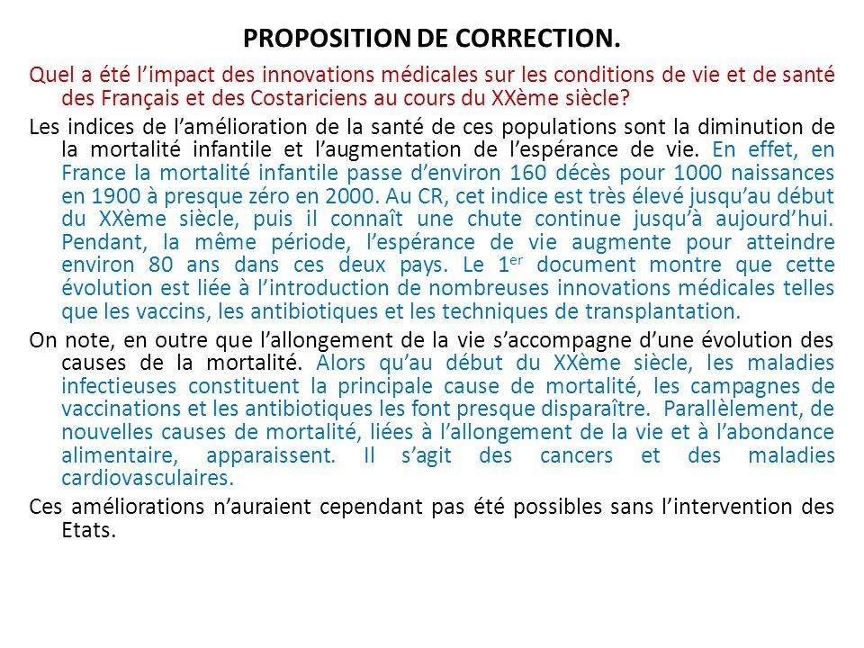 PROPOSITION DE CORRECTION.
