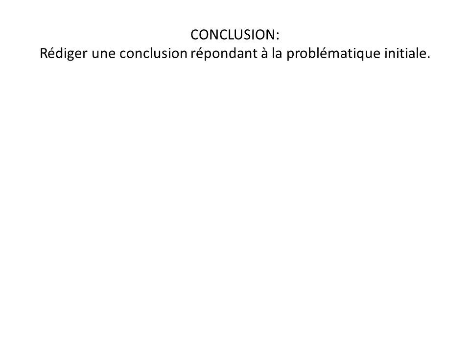 CONCLUSION: Rédiger une conclusion répondant à la problématique initiale.