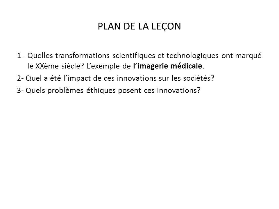 PLAN DE LA LEÇON 1-Quelles transformations scientifiques et technologiques ont marqué le XXème siècle.