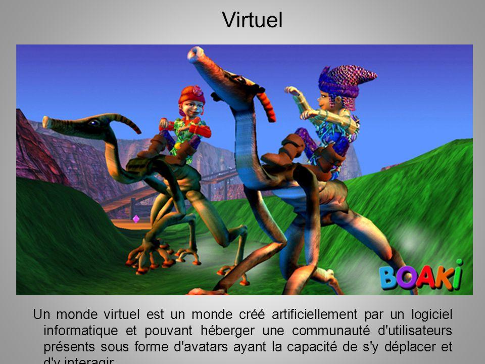 Un monde virtuel est un monde créé artificiellement par un logiciel informatique et pouvant héberger une communauté d'utilisateurs présents sous forme