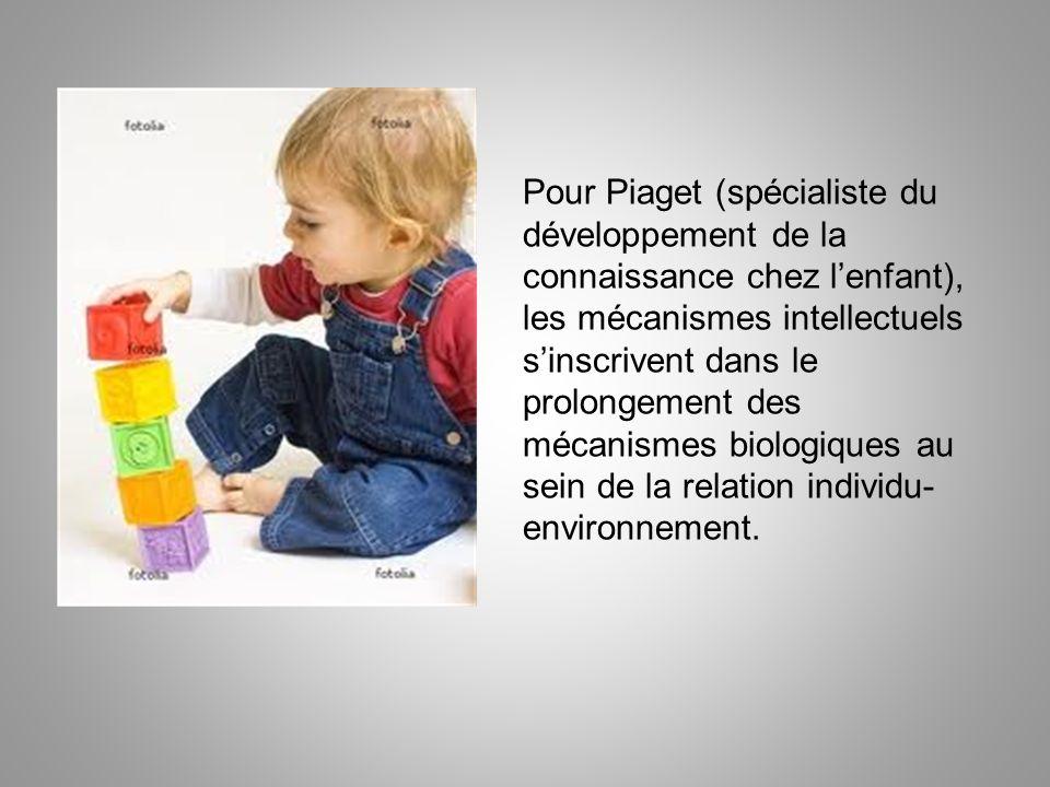 Pour Piaget (spécialiste du développement de la connaissance chez lenfant), les mécanismes intellectuels sinscrivent dans le prolongement des mécanism