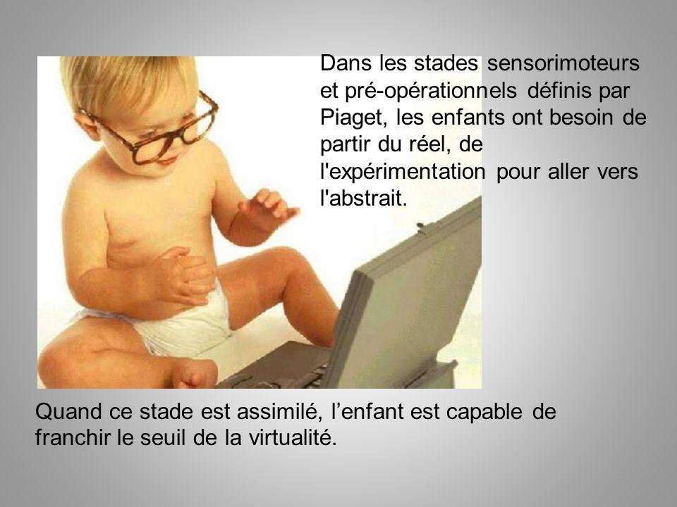 Dans les stades sensorimoteurs et pré-opérationnels définis par Piaget, les enfants ont besoin de partir du réel, de l'expérimentation pour aller vers