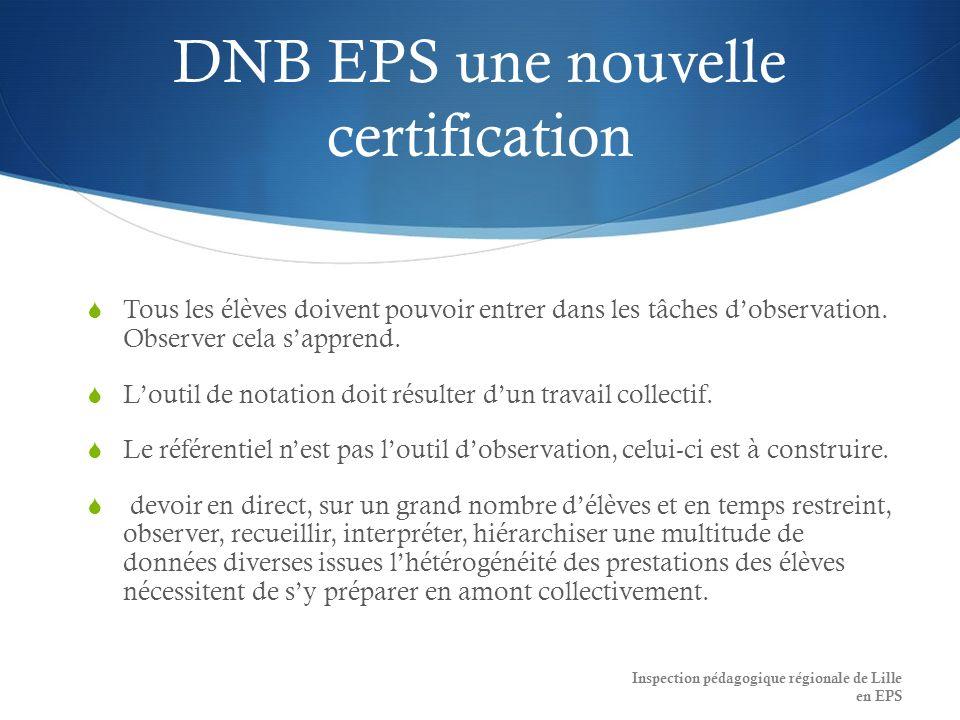 DNB EPS une nouvelle certification Tous les élèves doivent pouvoir entrer dans les tâches dobservation.