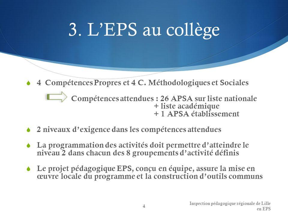 3.LEPS au collège 4 Compétences Propres et 4 C.