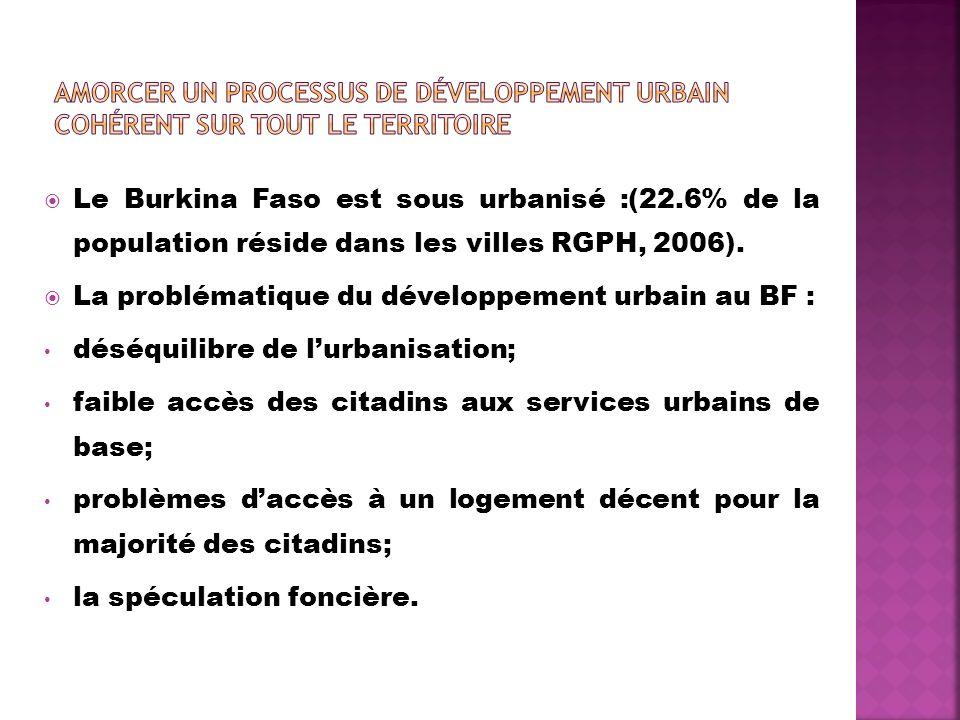 Le Burkina Faso est sous urbanisé :(22.6% de la population réside dans les villes RGPH, 2006). La problématique du développement urbain au BF : déséqu