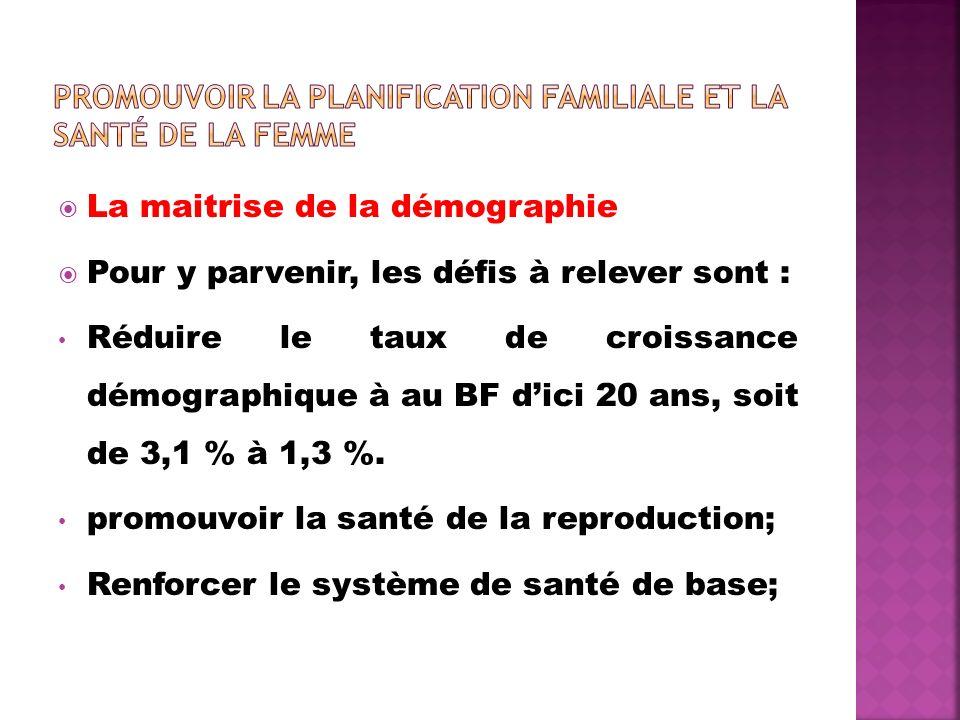 La maitrise de la démographie Pour y parvenir, les défis à relever sont : Réduire le taux de croissance démographique à au BF dici 20 ans, soit de 3,1 % à 1,3 %.